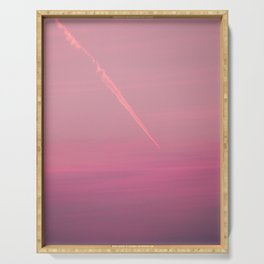 Pink sunset sky (line) Serving Tray
