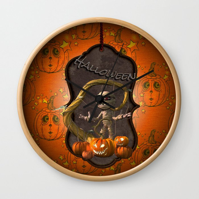 Halloween, funny mummy with pumpkins Wall Clock