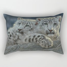 Snow Leopard Cubs Rectangular Pillow