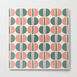 Mid Century Modern Geometric Pattern 143 Beige Green and Peach Metal Print