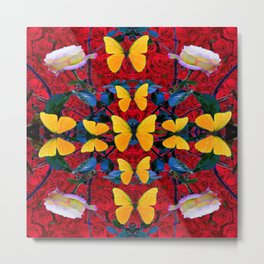 RED-WHITE ROSES & YELLOW BUTTERFLIES GARDEN Metal Print