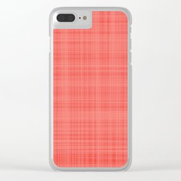 Living Coral Plaid_Tartan Pattern Clear iPhone Case
