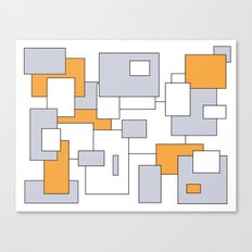 Squares - gray, orange and white. Canvas Print