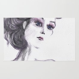 Fashion Illustration Portrait  Rug