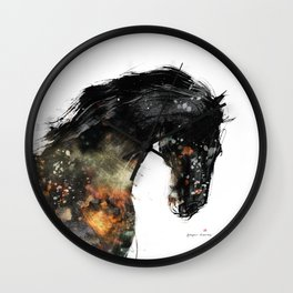 Horse portrait (Distant Galaxy) Wall Clock