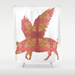 Vintage Flying Pig Shower Curtain