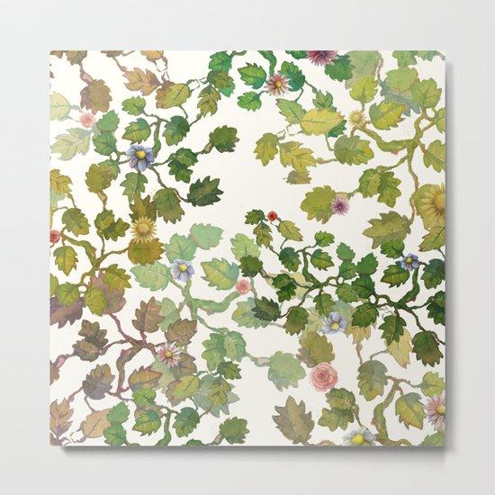 water color garden with flowers! ( Metal Print