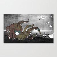 kraken Canvas Prints featuring Kraken  by Dániel Marton