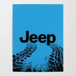 Jeep 'Tire-tracks' Surfblue Poster