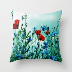 Cornflowers, poppies and chamomile in vintage look Throw Pillow