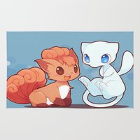 mew Area & Throw Rugs featuring Chibi Vulpix and Mew by Yamilett Pimentel