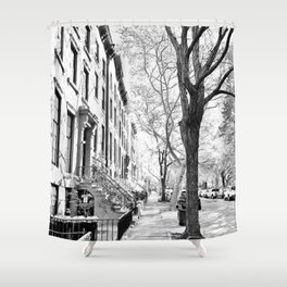 Cobble Hill Brooklyn Winter Black and White Brownstone Shower Curtain