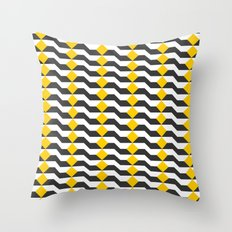 Tricolor Steps Yellow Black & White Throw Pillow