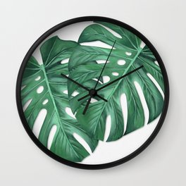 Monstera Tropical Leaf Painting Wall Clock