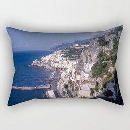 Amalfi Drive Coastal View, Vintage 1940's color photo, Italy Rectangular Pillow