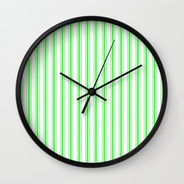 Mattress Ticking Wide Striped Pattern in Neon Green and White Wall Clock