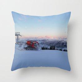 Morning animal of ski resort: Snowcat at work Throw Pillow