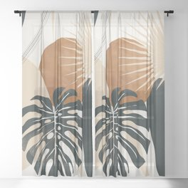 Abstract Art Tropical Leaves 7 Sheer Curtain