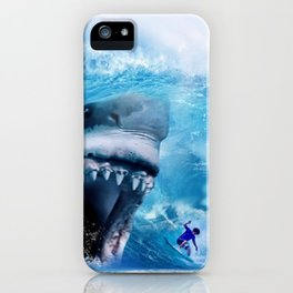 Megalodon attacks Surfer in a Wave iPhone Case