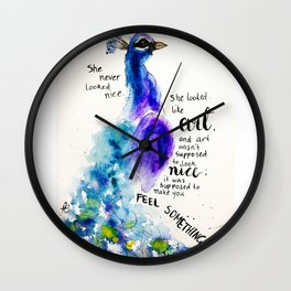 """Watercolour Peacock Charles Bukowski quote """"She never looked nice..."""" Wall Clock"""