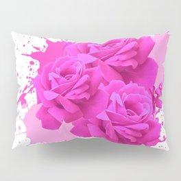 CERISE PINK ROSE PATTERN WATERCOLOR SPLATTER Pillow Sham