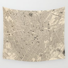 Vintage Map of Sheffield England (1851) Wall Tapestry