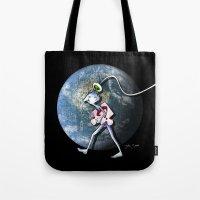 destiny Tote Bags featuring Destiny by Julia Sanz
