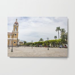 Granada Cathedral at the Parque Colon de Granada in Nicaragua Metal Print