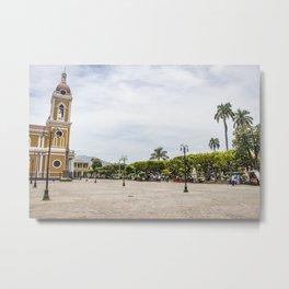 Granada Cathedral at the Parque Colon de Granada in Nicaragua Metal Print