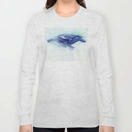 Humpback Whale Watercolor Mom and Baby Painting Whales Sea Creatures Long Sleeve T-shirt