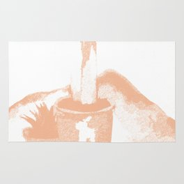 Peach and White Simple Cactus Drawing Rug