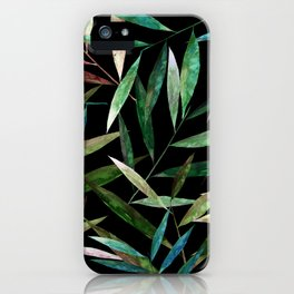 Bamboo Leaves at Night iPhone Case