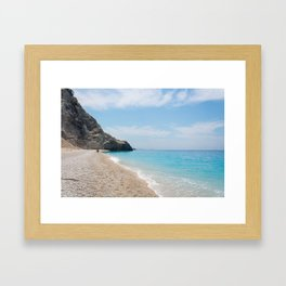 Lefkada beach greece Framed Art Print