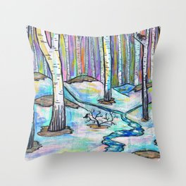 Early Spring in Birch Grove Throw Pillow