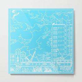 Tower blocks in blue Metal Print