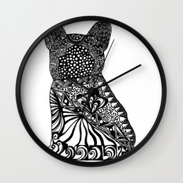 """""""Rocco"""" - French Bulldog Ink Zendoodle Wall Clock"""