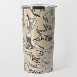 cat party beige natural Travel Mug