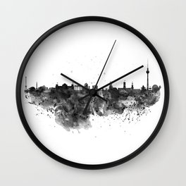 Black and white Berlin watercolor skyline Wall Clock