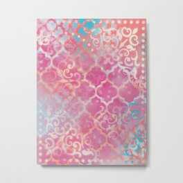 Layered Patterns - Pink, Coral, Turquoise and Cream Metal Print