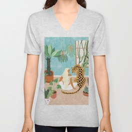 Urban Jungle Illustration, Tiger Home Decor, Woman & Modern Bohemian Wildlife Painting Unisex V-Neck