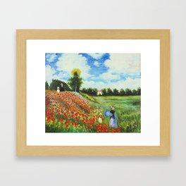 Claude Monet - Poppy Field at Argenteuil Framed Art Print