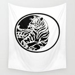Tiger Tattoo - Black Wall Tapestry