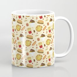 Fast Food Pattern Pizza Burgers & Fries Coffee Mug