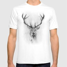 Red Deer MEDIUM Mens Fitted Tee White