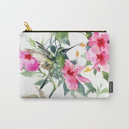 Hibiscus and Hummingbird, Hawaiian Aloha, birds and flowers design Carry-All Pouch