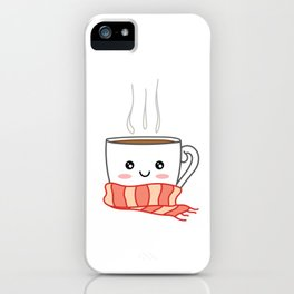 Cute smiling winter coffee with scarf iPhone Case