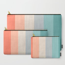 striped color pattern - red , orange, grey, green, Carry-All Pouch