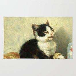 cute kitten 1- Julius Adam - the little patient -1885- pet,whikers,cat,kitty,kitten Rug