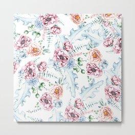 Hand painted pink blue watercolor modern floral Metal Print