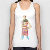 dress Tank Tops featuring Striped Dress by Pani Grafik